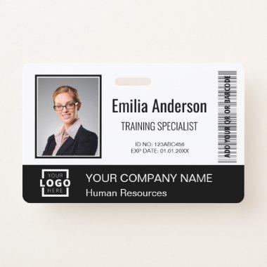 Custom Business Logo Bar Code Employee Photo Black Badge