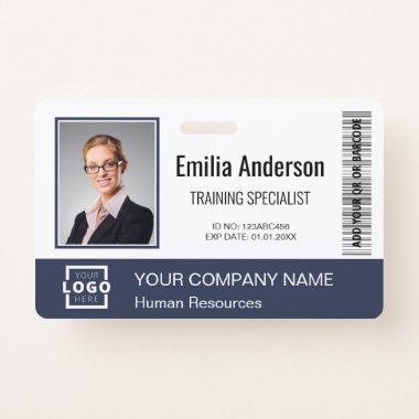 Custom Business Logo Bar Code Employee Photo Blue Badge