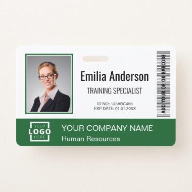 Custom Business Logo Bar Code Employee Photo Green Badge