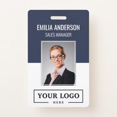 Custom Business Logo Basic Employee Photo Blue Badge
