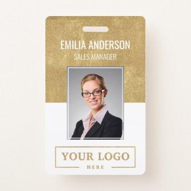 Custom Business Logo Basic Employee Photo Gold Badge
