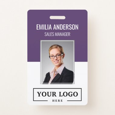 Custom Business Logo Basic Employee Photo Purple Badge