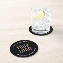 Custom Business Logo Branded Pulpboard Black Round Paper Coaster
