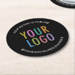 "Custom Business Logo Branded Pulpboard Black Round Paper Coaster<br><div class=""desc"">Personalize these round pulpboard paper coasters with your business logo, tagline, social media handle, or other custom text. These are 50 point pulpboard featuring curved text with a simple minimalist design. You can easily customize the black background color. Custom logo paper coasters can increase your brand awareness while serving your...</div>"