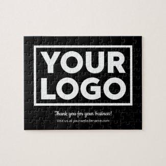Custom Business Logo Customer Thank You on Black Jigsaw Puzzle