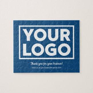 Custom Business Logo Customer Thank You on Blue Jigsaw Puzzle