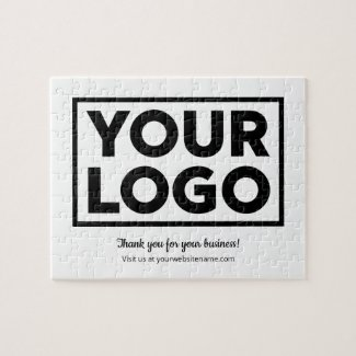 Custom Business Logo Customer Thank You on White Jigsaw Puzzle