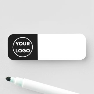 Custom Business Logo on Black Reusable Dry Erase Name Tag
