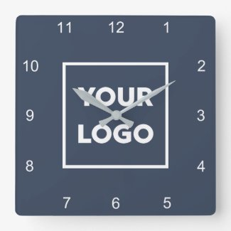 Custom Business Logo on Minimal Navy Blue Square Wall Clock