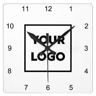 Custom Business Logo on Minimal White Background Square Wall Clock