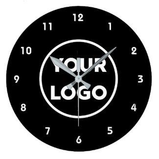 Custom Business Logo on Simple Black Background Large Clock