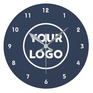 Custom Business Logo on Simple Navy Blue Large Clock