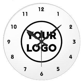 Custom Business Logo on Simple White Background Large Clock