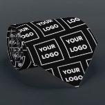 """Custom Business Logo Pattern on Black 2 Sided Neck Tie<br><div class=""""desc"""">Create your own branded professional business tie featuring your company logo in a repeating pattern on a black background on both sides. Replace the sample logo with your own in the sidebar. Your logo can be circular, square, or another shape. Upload a version on a transparent background if you want...</div>"""