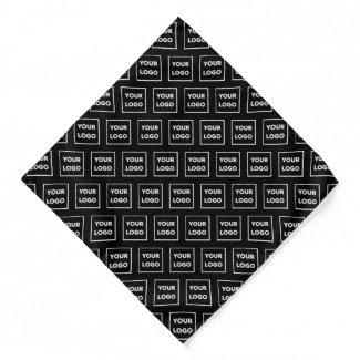 Custom Business Logo Pattern on Black Bandana