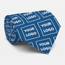 Custom Business Logo Pattern on Blue 2 Sided Neck Tie