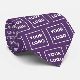 Custom Business Logo Pattern on Purple 2 Sided Neck Tie