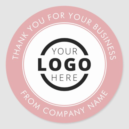 Custom Business Logo Promotional Thank You Pink Classic Round Sticker
