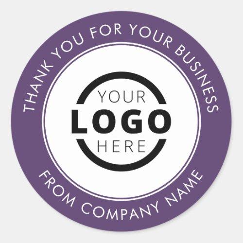 Custom Business Logo Promotional Thank You Purple Classic Round Sticker