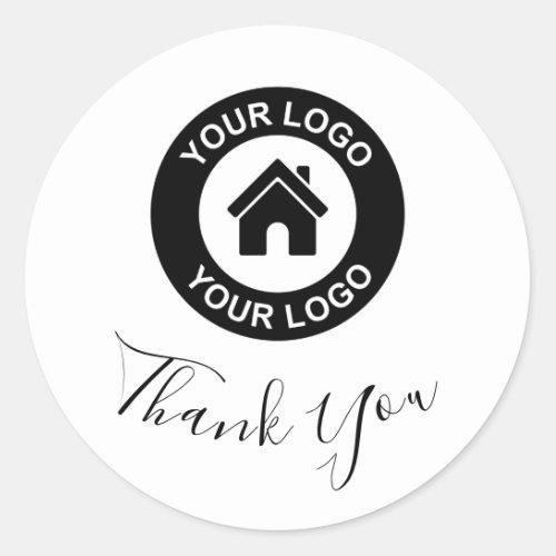 Custom Business Logo Thank You Classic Round Sticker