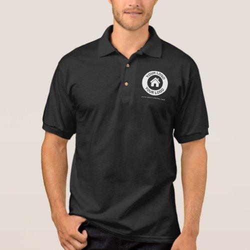 Custom Business Logo Website Men's Black Polo Shirt