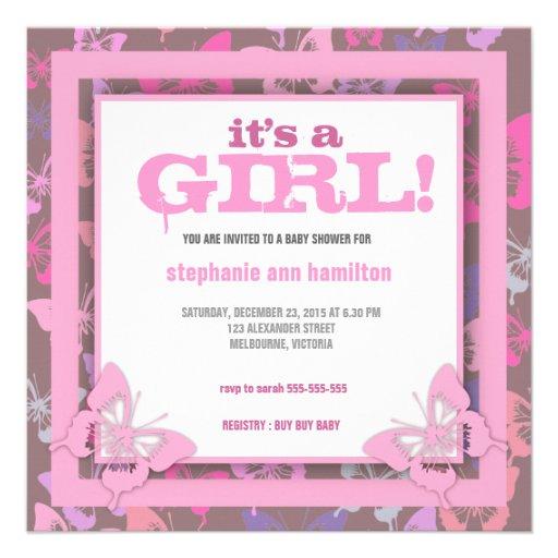 custom butterflies baby girl shower invites zazzle