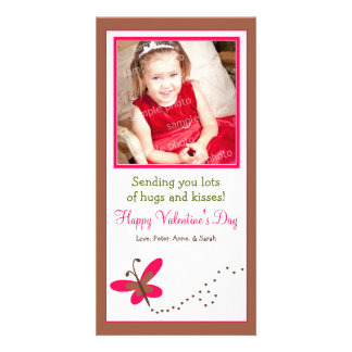 Custom Butterfly Valentine's Day Photo Card: brown Card