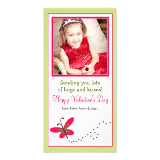 Custom Butterfly Valentine's Day Photo Card: green Card