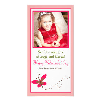Custom Butterfly Valentine's Day Photo Card: pink Card
