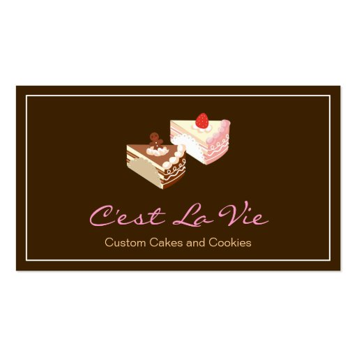 Custom Cakes and Cookies Dessert Bakery Shop Business Card (front side)