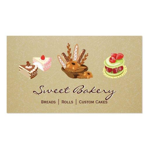 Custom Cakes & Breads Rolls Dessert Bakery Store Business Card Template