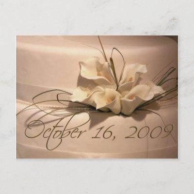 Custom calla lily wedding cake postage with October 16 2009 wedding date