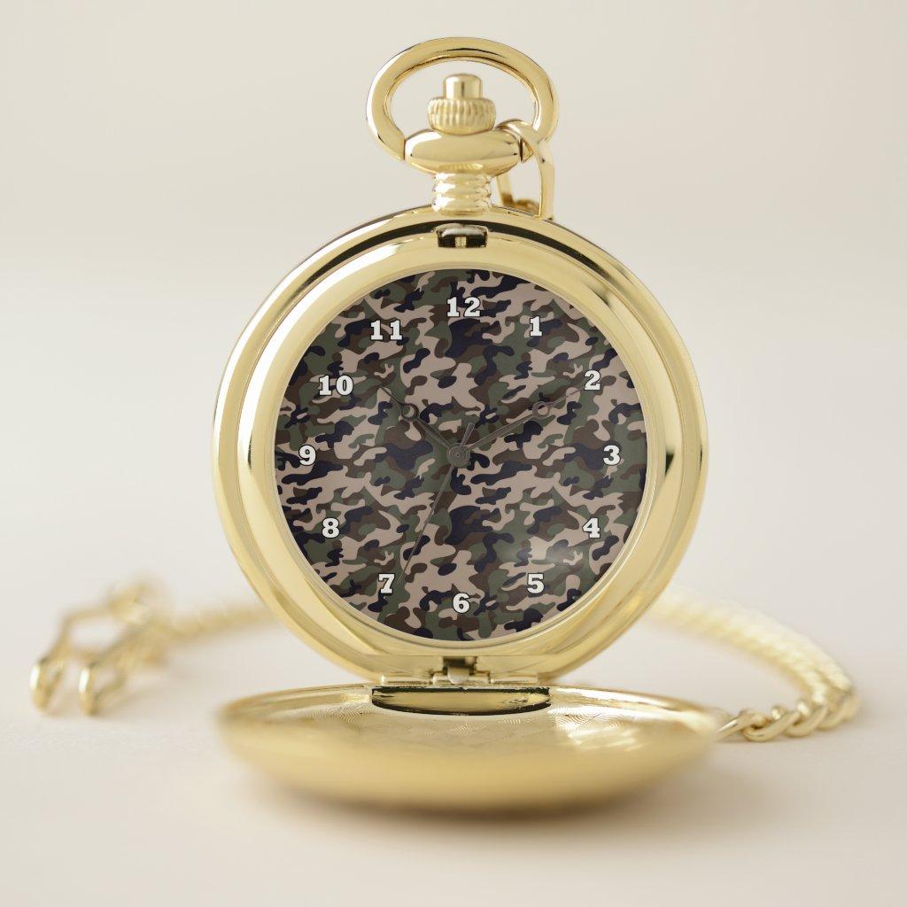Custom Camouflage Gold Pocket Watch