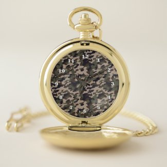 Custom Camouflage Gold Pocket Watch