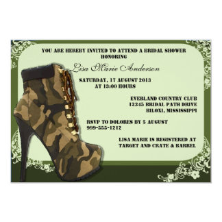 "Custom Camouflage Military Bridal Shower Invites 5"" X 7"" Invitation Card"