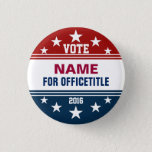 "Custom Campaign Button Red, White Blue<br><div class=""desc"">Campaign button template for elections. Makes a great gift for voters,  campaign contributors,  politicians,  volunteers,  memorabilia and more! See more at zazzle.com/CampaignHeadquarters</div>"