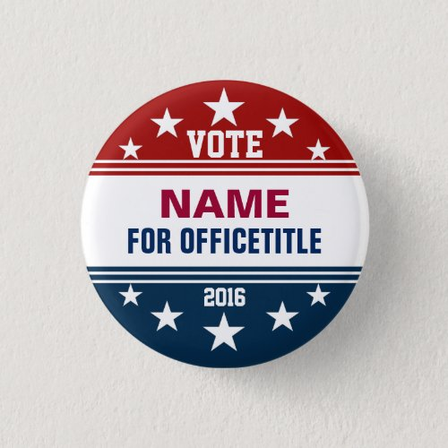 Custom Campaign Button Red White Blue