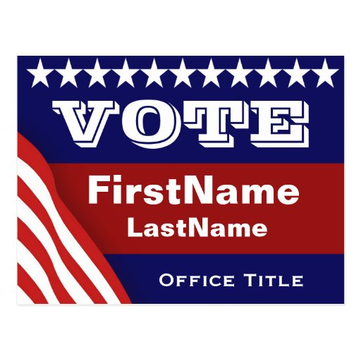 custom campaign election template postcard zazzle. Black Bedroom Furniture Sets. Home Design Ideas