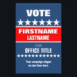 """Custom Campaign Political Template Flyer<br><div class=""""desc"""">Custom campaign political flyer template in red,  white and blue with stars. Great for starting and maintainging a successful campaign.  zazzle.com/CampaignHeadquarters</div>"""