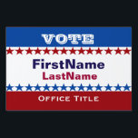 "Custom Campaign Template Lawn Sign<br><div class=""desc"">Custom campaign template in red,  white and blue with stars and stripes. Great for starting and maintainging a successful campaign.    zazzle.com/CampaignHeadquarters</div>"
