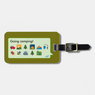 Custom camping vacation emoticons phone message… tag for luggage