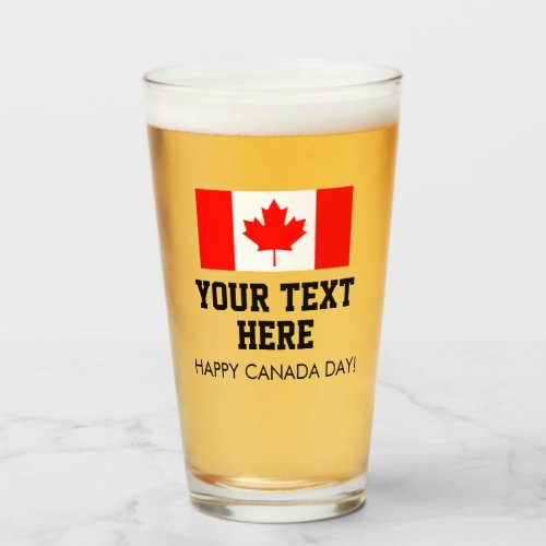Custom Canada Day beer glasses with Canadian flag