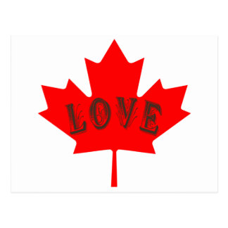 Custom Canada flag love post card