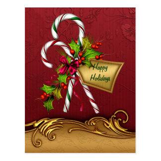 Custom Candy Cane Christmas Postcard