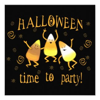 Custom Candy Corn Halloween Party Invitation