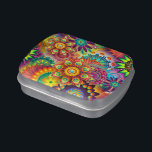"""Custom Candy Tin<br><div class=""""desc"""">Custom Candy Tin featuring ColorArt abstract mandala background in a vivid rainbow of colors and filled with jelly belly jellybeans or mints</div>"""