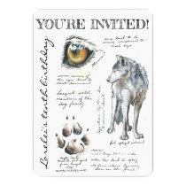 Custom Canis Lupus Wolf Illustration Invitation