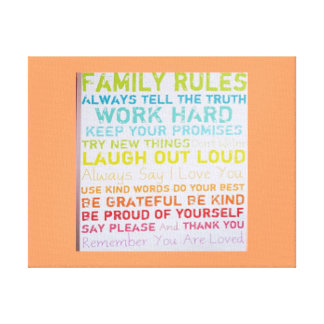custom canvas--HOME RULES  COLORS Canvas Print
