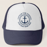 """Custom captain and boat name anchor and rope trucker hat<br><div class=""""desc"""">Trucker hat with your custom captain and boat name around an anchor with circular rope border</div>"""