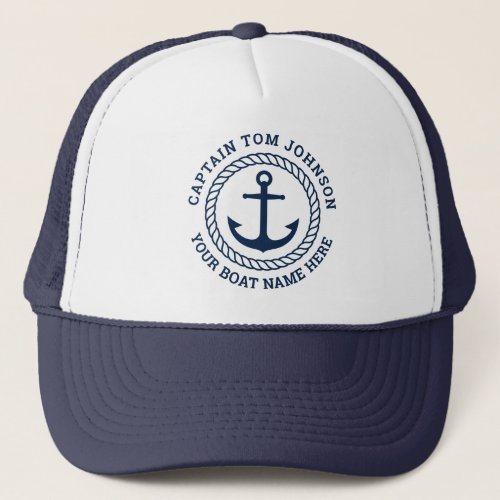 Custom captain and boat name anchor and rope trucker hat